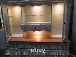 Régence Peint 8 Tiroirs Display Dresser- Solid Oak Top- Sur Mesure- Fabriqué À La Main