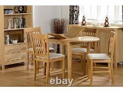 Seconique Oxford Oak Extending Dining Set Table + 4 Chaises En Daim Bois Massif