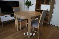 Set 4 Chaises & Petite Table Ronde En Riviera De Chêne S'étendant Jusqu'à 195cm, De Haute Qualité