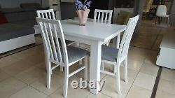 Set D'extension Table À Manger Et 4 Chaises En Bois Massif Blanc, Petit Et Grand! 110cm