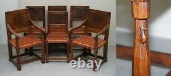 Six Très Rares Chaises À Manger Burr Oak Des Années 1930 Restaurées Robert Mouseman Thompson 6