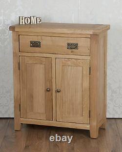 Slim Sideboard Cabinet Cupboard Solid Oak 2 Tiroir De Porte À Harrogate Natural