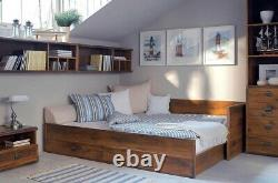 Sofa Bed Fold Out Storage Beige Fabric Oak Finish & Metal Detail Indiana Rustic