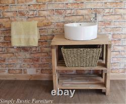 Solid Beam Basin Vanity Unit Washstand Rustique Récupéré Light Oak Sink