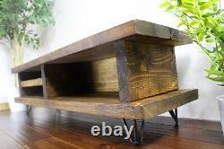 Solid Wood Rustic Handmade Pine Blissford Tv Unit/stand, Fini En Chêne Chunky