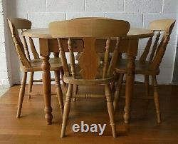 Style Antique Country Farmhouse Cuisine En Pin Massif Table À Manger Et 4 Chaises En Chêne