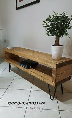 Support Industriel De Tv De Jambes De Hairpin/unité De Tv/meubles Faits À La Main Rustiques/bois Massif