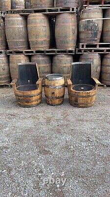 Sur Mesure Rustic Solid Chêne Rénové Whiskey Barrel Chaise Patio Garden Meubles