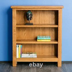 Surrey Oak Small Bookcase Rustic Solid Wood Low 3 Book Shelf Display Assemblé
