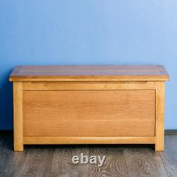 Surrey Oak Wooden Blanket Box Solid Wood Ottoman Chest Literie Rustic Toy Trunk