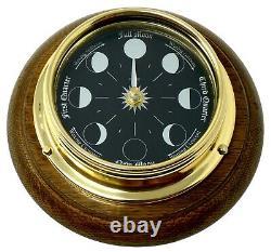 Tabic Prestige Lune En Laiton Massif Phase Horloge Montée Sur Un Support Anglais Chêne