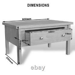 Table À Café En Chêne Peinte À La Crème / Cotswold / Tiroirs De Rangement / Bois Massif / Nouveau