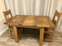 Table À Manger Extensible En Chêne 100% Massif Et 2 Chaises En Chêne Massif Style Rustique Cottage