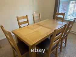 Table À Manger Extensible En Chêne Massif Avec 8 Chaises