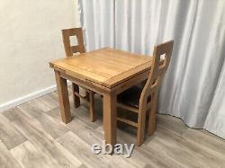 Table À Manger Extensible En Chêne Massif Et 2 Chaises En Chêne Massif