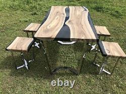 Table À Manger Sur Mesure Et 4 Tabourets X Solid Oak Dining Set Epoxy Stainless Steel