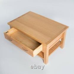 Table Basse En Chêne De Londres Grande Table En Bois Massif Léger Avec Étagère De Tiroir De Stockage