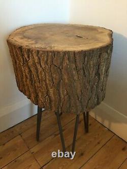 Table Basse / Support De Lampe En Tranche De Chêne Massif Avec 14 Pattes D'épingle À Cheveux