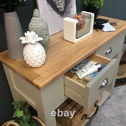Table De Console En Chêne Gris / Table En Bois Massif Peinte / Neuf / Grateley