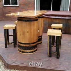 Table De Patio De Table De Bar À Deux Fouets En Chêne Massif Recyclée Avec Quatre Tabourets