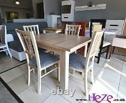 Table Extensible, 4 Chaises En Bois, Vendues Séparément Ou En Set, Grande Taille! Smarp
