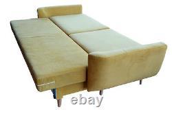Trois Canapé-lit 3 Places Avec Rangement, Tissu Souple, Jambes En Chêne, Super Design