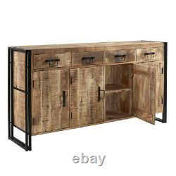 Urban Industrial Extra Large Sideboard Retro Rustic Solid Wood Metal Chêne Moyen
