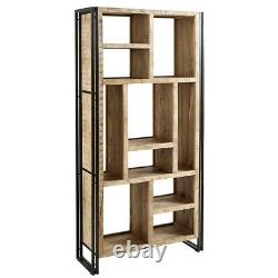 Urban Industrial Multi Shelf Bookcase Retro Rustic Solid Wood Metal Chêne Moyen