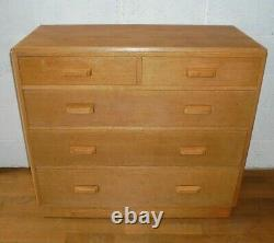 Vintage Retro MID Century Raf Air Ministry Military Light Chêne Chest Of Drawers